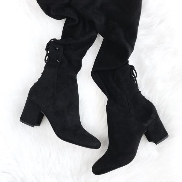 3b444e0a19 Aldo Shoes | Almira Black Laceup Thighhigh Boots 65 | Poshmark